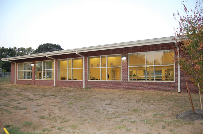 Kitchen and cafeteria exterior glass